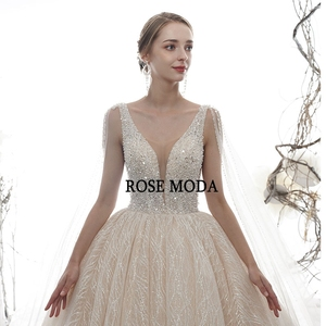 Image 3 - Rose Moda Luxury Deep V Neck Glittering Wedding Dress 2020 with Cape Crystal Wedding Gown Long Train Custom Make