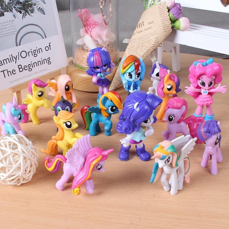 Набор игрушек из серии «Мой Маленький Пони», 12 шт., единорог, радужная лошадь, милая ПВХ лошадь пони, экшн-фигурки, аниме для девочек, подарки ...