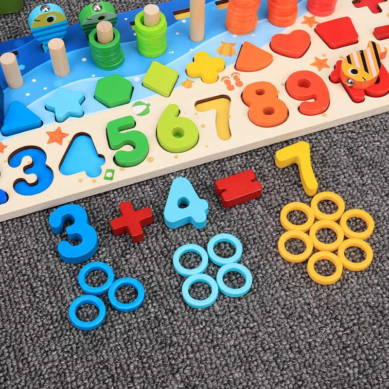 Montessori eğitim ahşap oyuncaklar çocuk meşgul kurulu matematik balıkçılık çocuk ahşap okul öncesi Montessori oyuncak sayma geometri