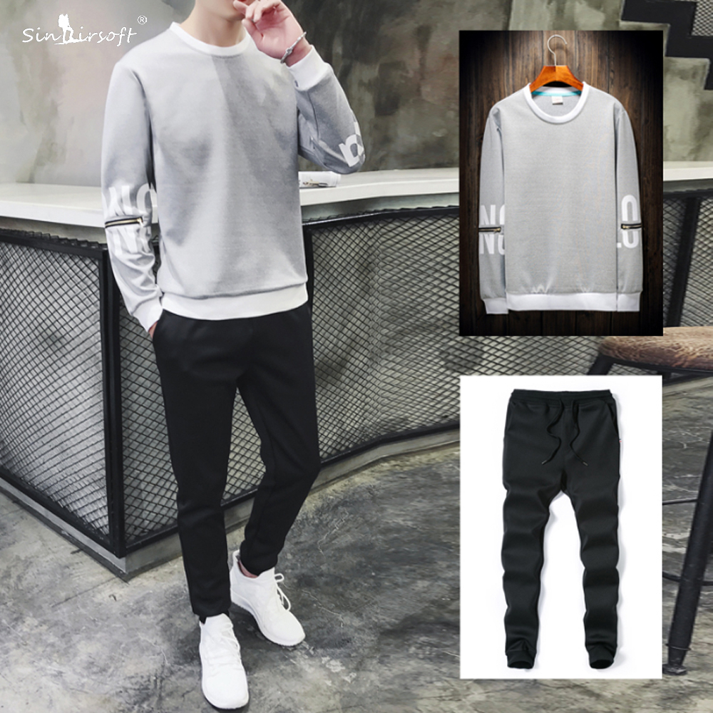 Men's Cotton Casual Suit Letter Printing Long Sleeve Tops Male Drawstring Waist Full Pants Runningwear Breathable Clothing Hot