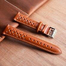 Pulseira de relógio de couro genuíno 18mm 19mm 20mm 22mm 24mm respirável poroso pulseira relógio artesanal costura pulseirasPulseira do relógio