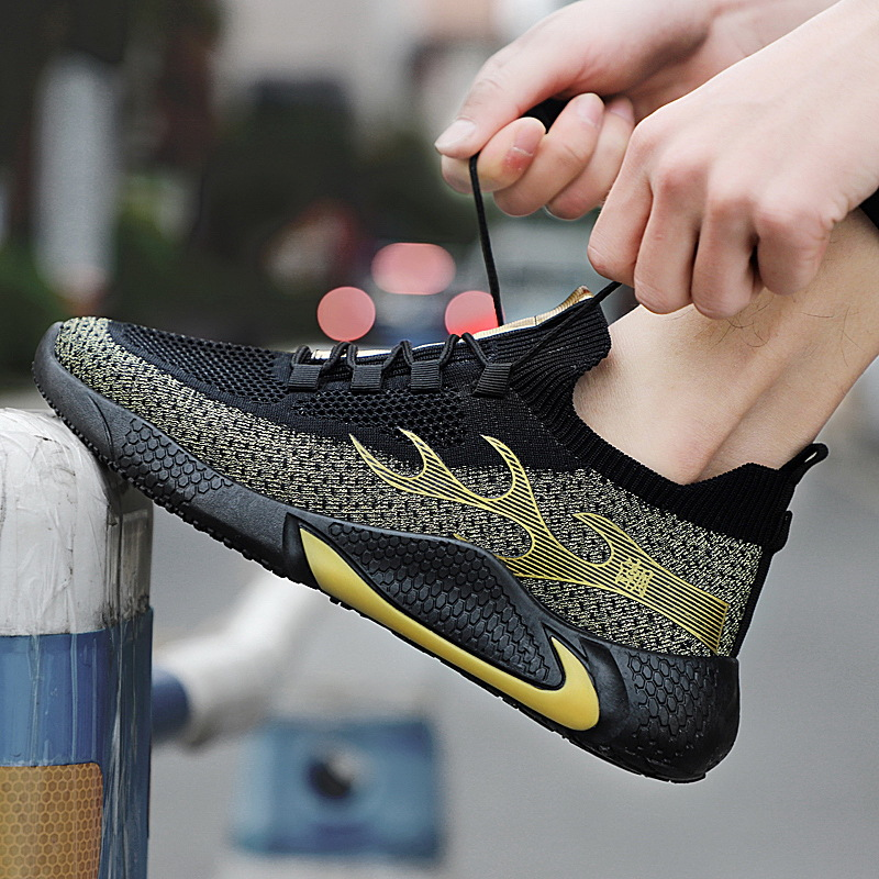 Men Casual Sport Shoes Fashion Men Running Shoes Fly Weave Air Mesh Sneakers Black Non Slip Footwear Breathable Jogging Shoe