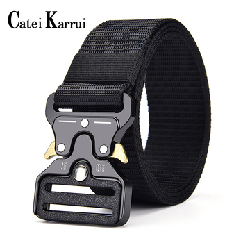 Catei Karrui Tactical Belt, Military Style Webbing Riggers Web Belt Heavy-Duty Quick-Release Metal Buckle men's training outdoor military web belt 1 5 inch rapid release gun belt tactical nylon duty belt with buckle multifunctional gear outdoor equipment