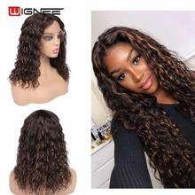 Wigs Lace Wignee Hair Curly Brown Black Preplucked Women Brazilian for Mixed Remy Swiss
