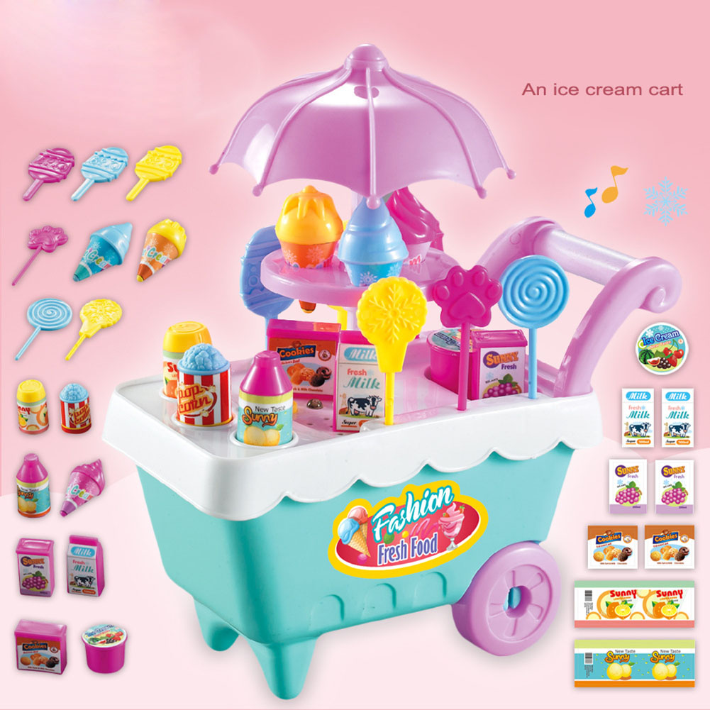 High 19pcs Set Ice Cream Trolley Cart Plastic Pretend Play Food Dessert Toy For Children Kids KTC 66