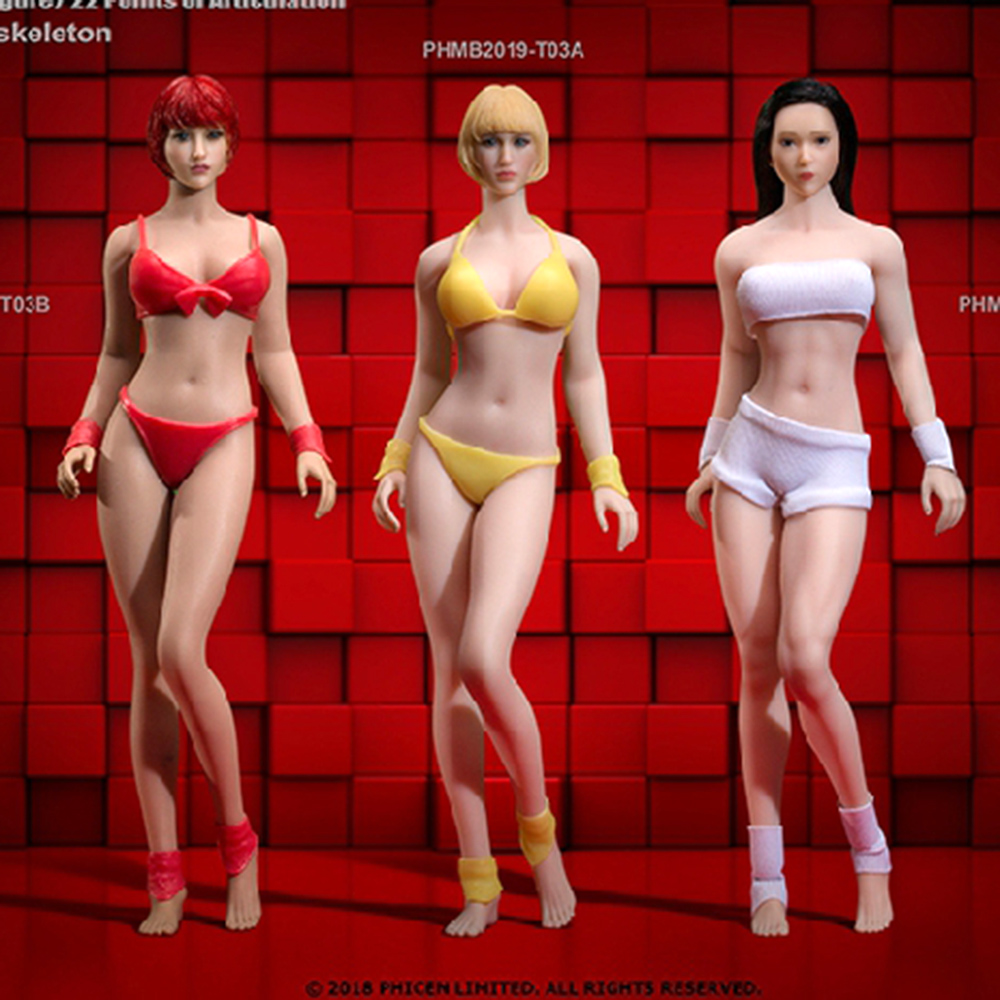 In stock full set TBLeague Phicen 1/12 T03A T03B <font><b>Female</b></font> <font><b>Action</b></font> <font><b>Figure</b></font> Seamless Body with Head Sculpt Pale Suntan Figurine Dolls image