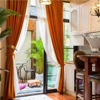 Cortinas de veludo para quarto ou sala de estar  luz do norte da europa países baixos  laranja  flanela