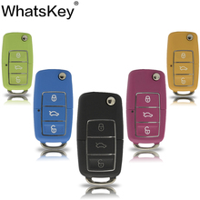 WhatsKey Car Key Shell For Volkswagen For Vw For Seat For Skoda Jetta Golf Passat Beetle Polo Bora 3 Button Replacement Flip Key стоимость
