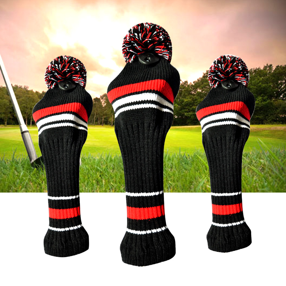 3pcs Big Pom Pom Sports Protective For Driver Anti Scratch Dustproof Golf Golf Headcover Set Accessories Washable Soft Knitted