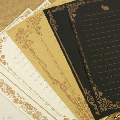 8Pcs/Set Vintage Retro Letter Paper Note Writing Stationery Paper Design Printed