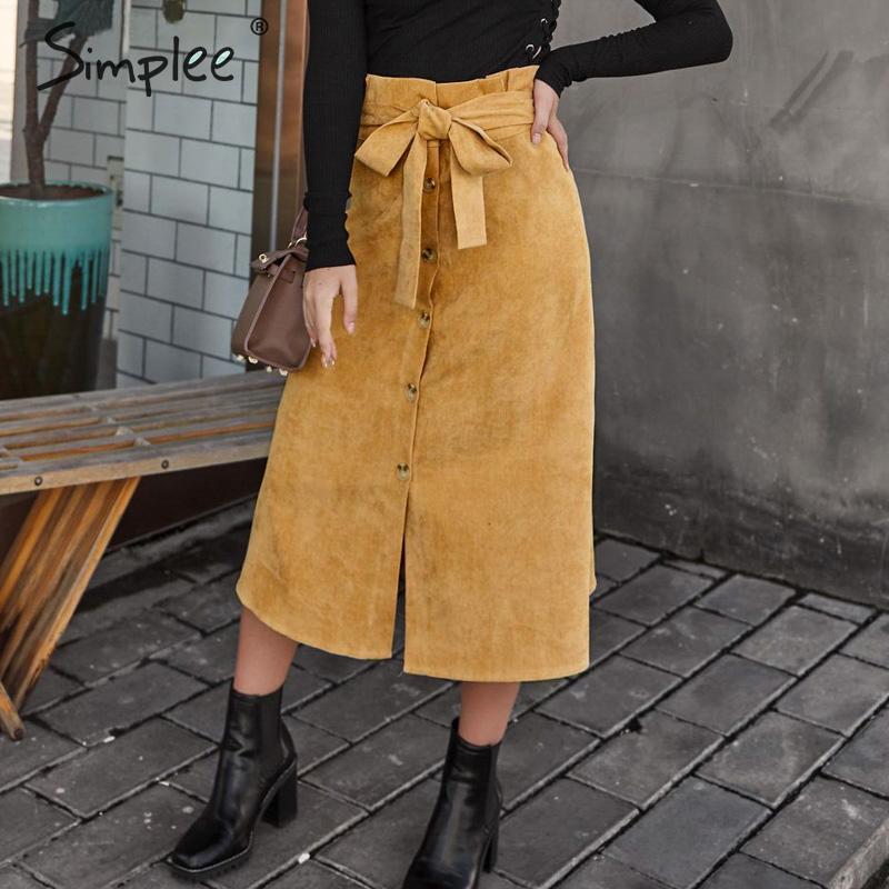 Simplee A-line Corduroy Skirt Women Autumn Winter Vintage Harajuku Female Midi Skirt Elegant High Waist Sash Belt Ladies Skirt