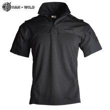 Камуфляж Тактический рубашка в стиле милитари для мужчин с коротким рукавом для мальчиков плотные армии рубашки для мальчиков Multicam равном ...