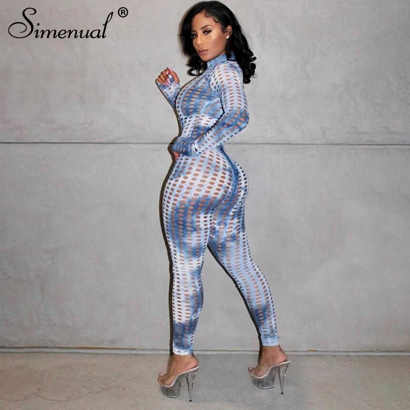 Simenual Aushöhlen Tie Dye Workout Passenden Sets Frauen Langarm Transparent Fitness 2 Stück Outfits Body Und Hosen Set