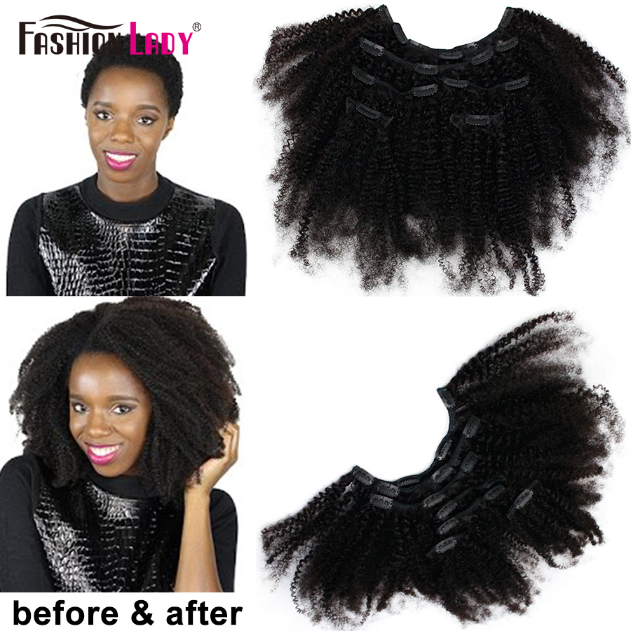 Pre-Colored Brazilian Kinky Curly Hair Clip In Human Hair Extensions 7pcs Set Extensions With 16 Clips Fashion Lady Remy Hair