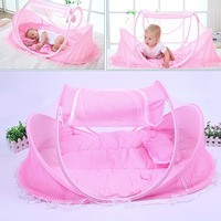 4pcs/lot 0 12Months Baby Bed Portable Foldable Crib With Netting Newborn Sleep Travel Mosquito Net ding