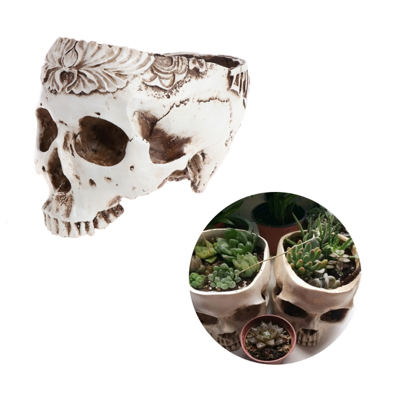 Resin Gothic Skull Head Flower Pot Planter Container Home Bar Ornament Decor