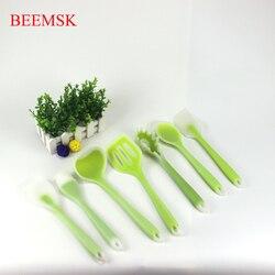 BEEMSK 7 sztuk/zestaw 5 sztuk/zestaw food grade naczynia kuchenne silikonowe przezroczysty zielony wysokiej jakości wysokiej temperatury NonStick łopatka kadzi