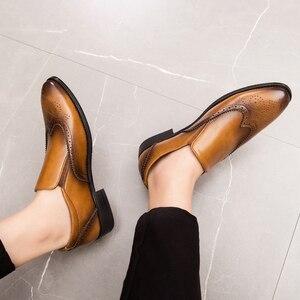 Image 5 - Zapatos de vestir para hombre, calzado Formal Oxford de cuero, estilo oxford, para boda, 2020
