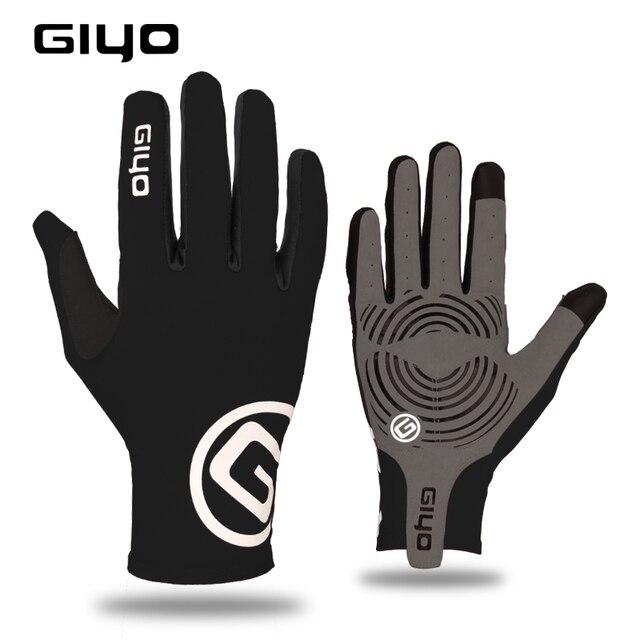Giyo tela sensível ao toque longo dedos completos gel luvas de ciclismo esportes das mulheres dos homens bicicleta mtb estrada equitação corrida 1