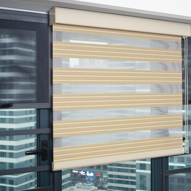 Smart Matters Window Zebra Blinds Shades Pleated Opaque Day Night Roller Curtains with Beads For Living Room Bedroom Customized