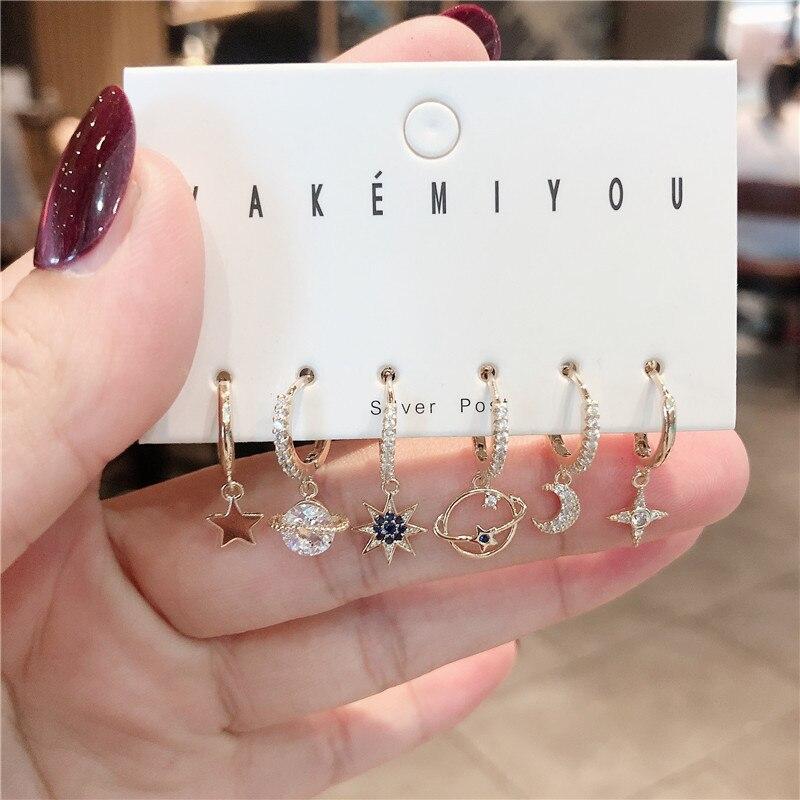 Модные серьги-кольца с Луной и звездой, наборы для женщин золотого цвета, 6 штук, серьги, ювелирные изделия, оптовая продажа