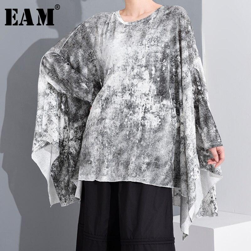 [EAM] Women Pattern Printed Big Size AsymmetricalT-shirt New Round Neck Long Sleeve  Fashion Tide Spring Summer 2020 YH85001