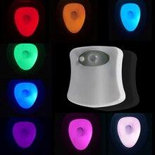 מקלחת LED אסלה אור חכם חיישן תנועה עמיד למים אמבטיה אסלת לילה אור 8 צבע המרת מנורה