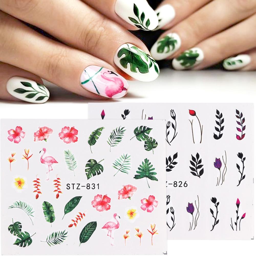 128 1 Uds Nuevas Pegatinas Para Uñas Hoja Verde Flores Flamencos Plumas Pegatinas De Agua Para Uñas Decoraciones Artísticas Envuelve Deslizadores