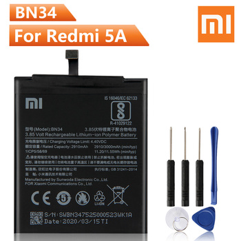 Xiao Mi Original Replacement Phone Battery BN34 For Xiaomi Red mi 5A Redrice 5A BN34 Authenic Rechargeable Battery 3000mAh replacement 35mm hs366 6v4 5a ophthalmic lamp 6v27w op2366 p44s for haag straight hs900 930 neitz shin nippon