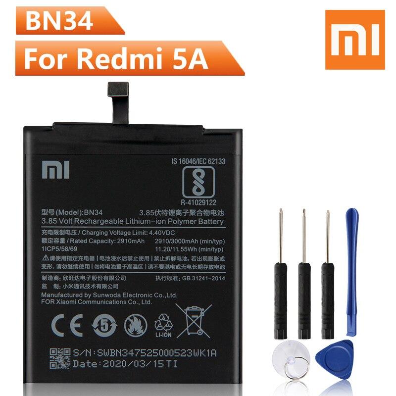 Оригинальный сменный аккумулятор для телефона Xiao Mi BN34 для Xiaomi Red mi 5A Redrice 5A BN34 Подлинная перезаряжаемая батарея 3000 мАч