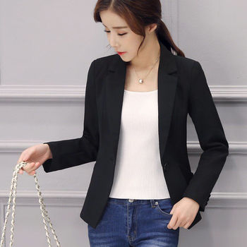 PEONFLY Spring Autumn Fashion Women's Long Sleeve Single Button Jacket Loose Casual Black Women Blazers Jackets Work Wear Coat 1