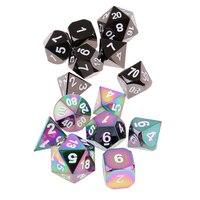 14Pcs Black&Rainbow Alloy Dice Polyhedral Dies D4 D20 for Party D&D MTG Toys