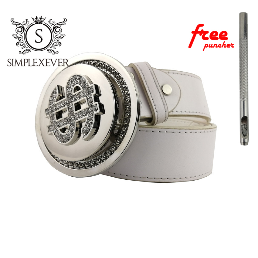 Removable Dollar Metal Belt Buckle, Silver Men's Round Belt Buckle With PU Belt As Birthday Gifts