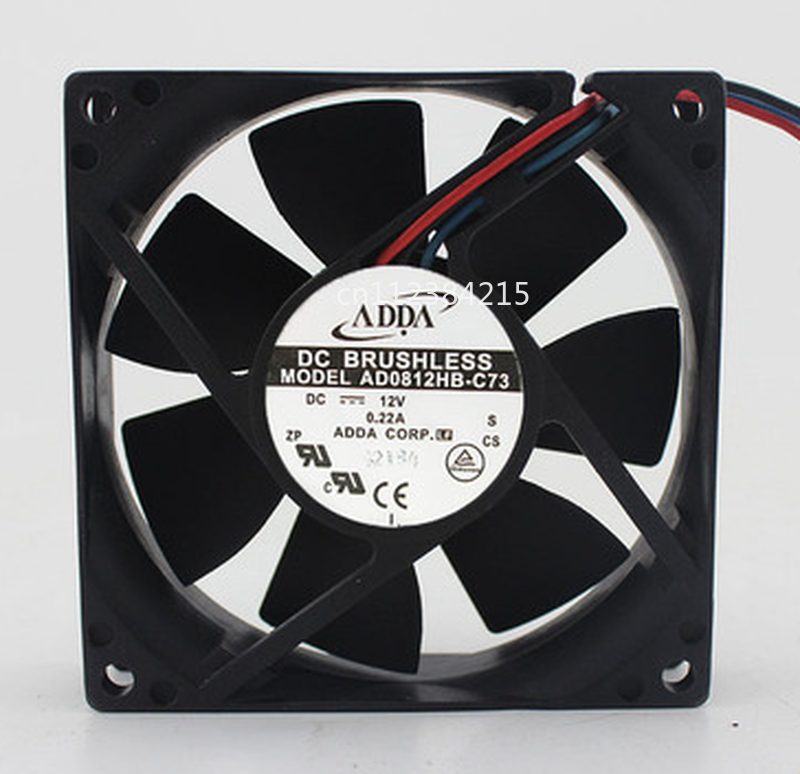 Free Shipping AD0812HB-C73 DC 12V 0.22A 3-wire 80x80x20mm Server Cooler Fan