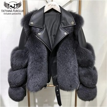 Coats Outwear Fox-Fur-Jacket Genuine Sheepskin Natural Winter Women Luxury Whole-Skin