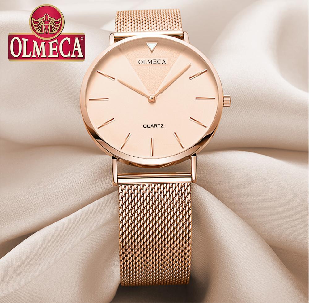 OLMECA Women Watches Mesh Band watches Luxury Brand Watch Reloj Mujer Water Resistant Quartz Watches Gift Relogio Feminino
