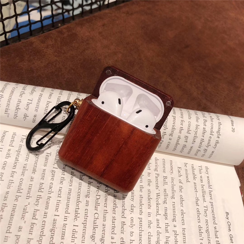 Image 4 - wood grain protective Bluetooth headset cover for airpods case natural color e co friendly earphone holder with hook  BIA010-in Earphone Accessories from Consumer Electronics