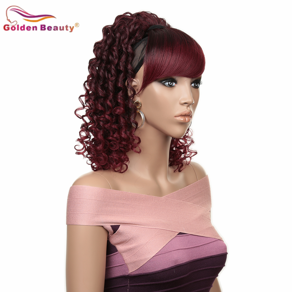 12Inch Kinky Curly Synthetic Ponytail Extention Wig  inclined Bangs  Built-in BB clip Bang and Wig For Women Golden Beauty
