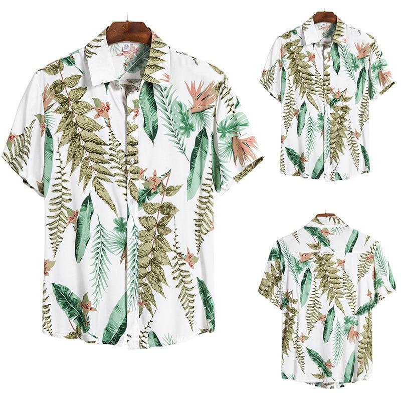 Summer Wear Man Leisure Time Self-cultivation Printing European Code Short Sleeve Flower Shirt Male Cs145