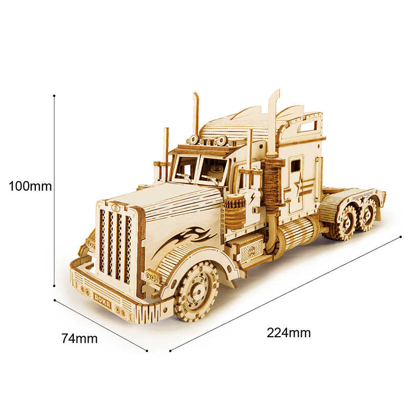 Robotime ROKR DIY juego de rompecabezas de madera 3D hecho a mano modelo de pista pesada juguetes para niños regalos MC502