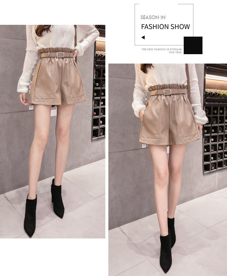 Elegant Leather Shorts Fashion High Waist Shorts Girls A-line  Bottoms Wide-legged Shorts Autumn Winter Women 6312 50 50