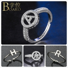 Adjustable Initial Letter Rings For Women Zircon Silver Bridesmaid Wedding Party Ring Girl Engagement Promise Z5