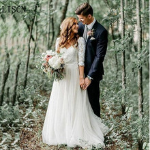 Ivory Bridal Gowns Boho Vintage Tulle Lace 3/4 Long Sleeve Wedding Dress A Line V Neck Backless Appliques Princess Summer Beach stylish round neck 3 4 sleeve backless lace dress for women