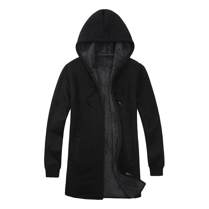 FGKKS Winter New Sweaters Men Fashion Brand Men's Plus Velvet Long Section Sweater Coat Hooded Cardigan Sweater Male
