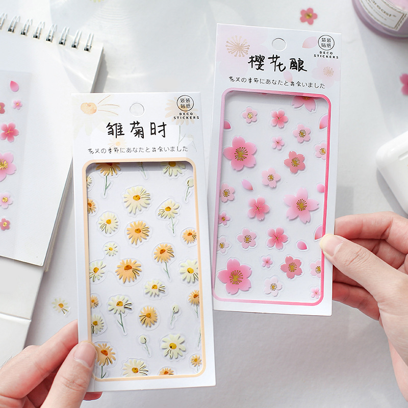 2 Sheets Daisy Sakura Pvc Transparent Stickers Kawaii Stationery Planner Diary Scrapbooking Diy Craft Decor Decorative Label
