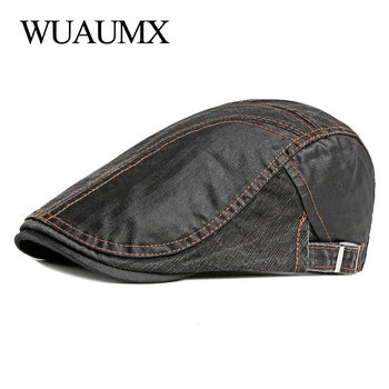 Wuaumx British Style Beret Hats Men Women Spring Summer Patchwork Visor Peaked Flat Cap Casual Duckbill Hat Painter