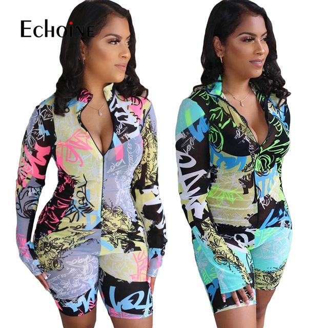 Echoine Tie-Dye print Women zipper up bodycon skinny short Jumpsuit Romper Fitness Sexy Night Party playsuit One Piece Outfit 2