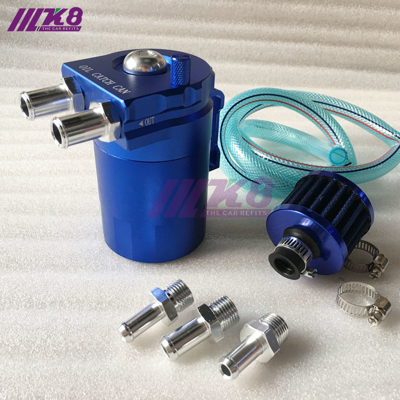 Polished Oil Tank Kit Catch Can Breather Filter 10 AN w// Fitting Fuel Hose Kit