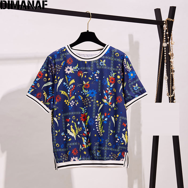 DIMANAF 2020 Plus Size Women T-Shirt Summer Style Short Sleeve Female Lady Floral Print Tops&Tees O-Neck Show Thin Loose Tops
