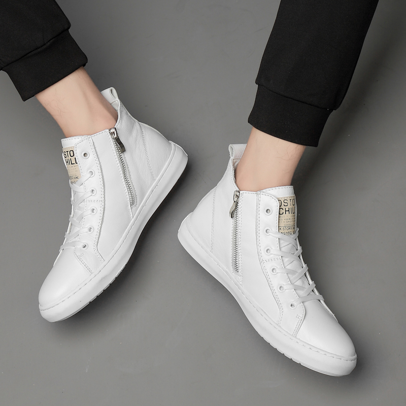 New Luxury Brand Men Fashion High Top Sneakers Spring Autumn Casual High Shoes Men Genuine Leather Shoes Simple Flats